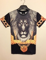 New 2014 Summer GIV Men's Brand Sport T Shirt 3d Animal Vintage King Lion Printed T-Shirt Casual Short Sleeve Space Cotton