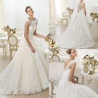 Custom Made Scoop Backless Court Train Bride Bow Lace Cap Sleeve Wedding Dress Robe De Mariage Custom Made