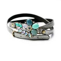 European Fashion Women's Leather Wrap Bracelets Rhinestone Flower Adjusted Bracelet L0303