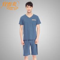 Men's 100% V-neck 5 cotton pants short-sleeve home set 100% cotton breathable super soft sleepwear pants
