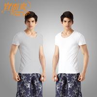 2 antibacterial underwear men's u 100% cotton rib knitting t-shirt 100% short-sleeve cotton t-shirt