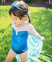 2014 New Fashion Summer Girls Baby Child Kids TUTU Snow Bathers Frozen Cover up Elsa Anna Diamond With Cape Swimwear H0140733