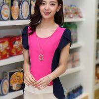 Summer plus size chiffon shirt female loose mm short-sleeve chiffon top chiffon shirt female basic shirt