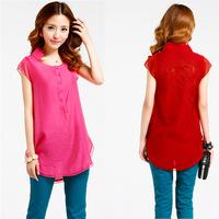 Lace 2014 women's basic shirt chiffon shirt short-sleeve spring and summer medium-long all-match loose plus size top