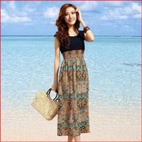 2014 summer women's bohemia chiffon skirt long women's one-piece dress beach dress female