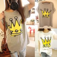 2014 summer loose t-shirt female summer short-sleeve medium-long plus size clothing short-sleeve t