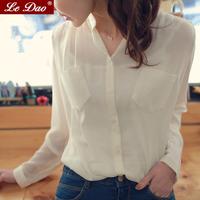 2014 chiffon shirt female long-sleeve shirt small stand collar women's fresh casual muleshoe bags white top