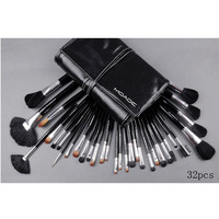 Free shipping,NO 043 32 pcs make up cosmetic brush set with bag,white line, makeup brush