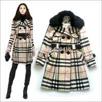 Winter 2014 Women Rabbit  Fur Collar Classic Double-breasted Long Sleeve  Warm Wool coat  0701P0822
