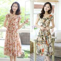 2014 summer women's summer o-neck short-sleeve chiffon one-piece dress slim plus size floral print full dress female