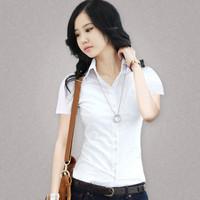 2014 summer slim ol white shirt female short-sleeve top shirt tooling shirt