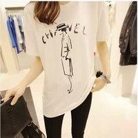2014 summer plus size letter roll-up hem o-neck short-sleeve T-shirt brief loose women's basic shirt