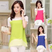 2014 summer elegant short-sleeve slim all-match fashion plus size cool women's chiffon shirt top