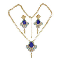 New Arrival Fashion Famous Brand Jewelry Set Luxury Women Necklaces And Rhinestone Earrings L0304