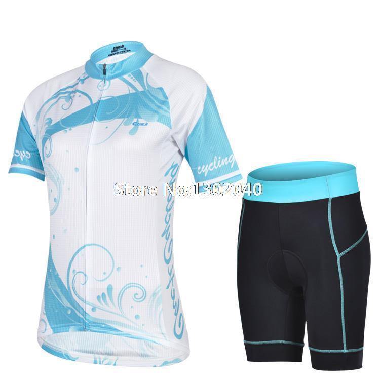 Venda quente 2014 feminino roupas de ciclismo + ciclismo shorts set blue spirit padrão antibacteriano respirável roupas de ciclismo(China (Mainland))