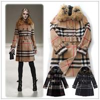 Winter 2014 Women Raccoon Fur Collar Classic Double-breasted Long Sleeve  Warm Wool coat  0701P0953