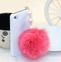 Free shipping Wholesale 10pcs Cell Phone Accessories cute ball Rabbit hair ball pendant pearl Ear Cap Dust Plugs dust stopper