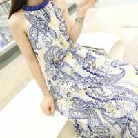 2014 vintage blue and white porcelain one-piece dress chiffon print vest bohemia beach full dress female