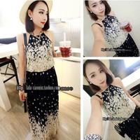 2014 raglan sleeve suspender  flower chiffon sleeveless one-piece dress beach dress full dress female