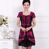 Free Shipping Middle-Aged Two Piece Red Summer Short-Sleeved Dress XXXL,XXXXL,5XL,6XL Plus Size Women