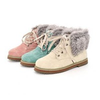 big size 34-43 Hot 2014 fashion fur ladies leather flat woman female ankle snow boots for women and women winter shoes #Y10100F