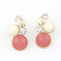 New 2014 Fashion brincos Sweet Bubble Round Earrings earrings Gold earrings for women stud earrings fashion jewelry wholesale