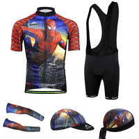New 2014 Spider-Man print Cycling Jersey cycling wear cycling clothing Bib shorts men Summer Breathable quick dry