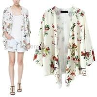 NEW 2014 European style women kimono cardigan birds Floral print white blouse jacket/camisas femininas blusas mujer ropa/WOS
