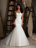 2014 New Fashion Mermaid Organza Wedding Dress Bridal Gown vestido de noiva Custom Size