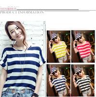 2014 Fashion Summer Women Chiffon Shirt Short Sleeve Stripe Ladies Loose T shirt O-Neck Colored Striped Tops 4 Color A361