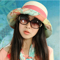 2014 Hat summer folding women's strawhat anti-uv sunbonnet big sun hat beach cap