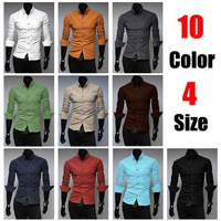 New 2014 Slim Fit Cotton Many Color Full Sleeve Solid Casual Mens Dress Shirts