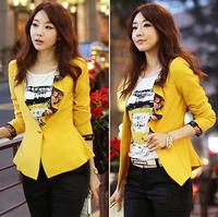 2014 New Brand Fashion women blazer  Korean  big flower lotus leaf collar edge design dovetail Slim small suit jacket women