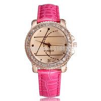 Hot Sell Casual Women Lady Wrist Watch w/ Rhinestone Girls Dress Quartz Watch Analog PU Leather Band