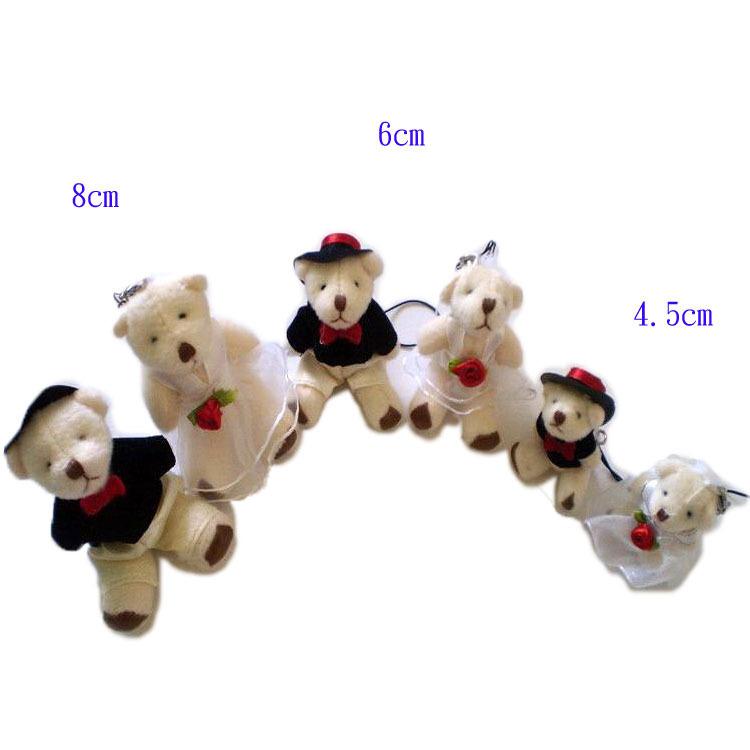 100pcs/lot free shipping 6CM MINI wedding dress bears plush stuffed toy couple bears doll/wedding gift/bag phone pendant(China (Mainland))