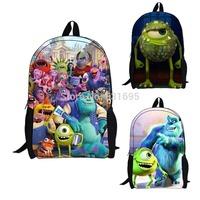 Fashion Cartoon Monster Inc University Mike Sully School Bag,Children's Backpack,Kid's Printing Backpack Best Gift.