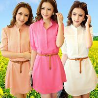 2014 summer women's loose sweet fresh slim elegant chiffon one-piece dress a-line dress