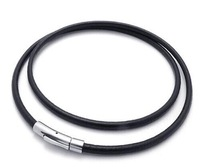 Black Genuine Leather 316L Stainless Steel Buckle Clasp Multi Wrap Bracelet Necklace Bracelet 5mm Round