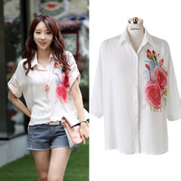 2014 Summer New Korean fresh Turn-down Collar Loose Half Printing Chiffon Leisure Fashion Shirt  Women's Clothing Blouses 701O