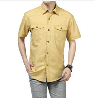 Hot-sale! New Arrival 2014 Summer New Men's Outdoor Leisure 100% Cotton Short-sleeved Solid Shirt Big Yard Shirt ,Free Shipping!