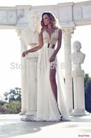 Latest Ireland New Elegant  Women Summer Cream Color Beaded Pearls Sash Chiffon Floor Length Party TM88402 Summer Dress 2014