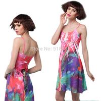 Top women summer dress 2014 fashion women  spring  floral dress plus size print dresses new brand casual dress9(TFC011)