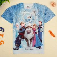 2~8Y 2014 new spring summer fashion brand children kids boys casual outwear cotton cartoon frozen short t shirt