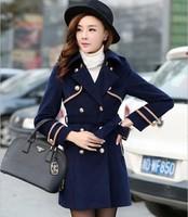 Women's slim 2014 sweet POLO collar long-sleeve woolen outerwear woolen medium-long winter