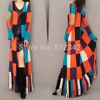 Women British style multicolored plaid patchwork sweater coat Europe and America Tassel hem extra long Knitting cardigan