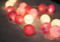 20 Balls/Set pink Cotton Balls Fairy 220v String Lights Christmas weddings & events, Free Shipping