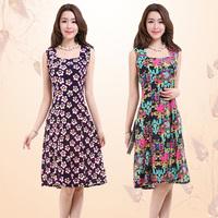 2014 summer slim milk, silk sleeveless square collar gentlewomen one-piece dress plus size clothing beach dress