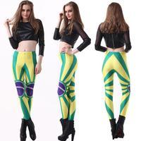 Yoga Limited Cotton Capris Pencil Pants Mid Women Leggings Sexy Brazilian Flag Star Printed Nine Feet Pants 2014 New Wear