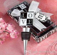 Wholesale - 100pc LOVE wine bottle stopper wedding supplies Square gift box #Z92