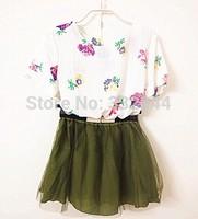 Summer dress 2014 flower print top and gauze short twinset dress with belt